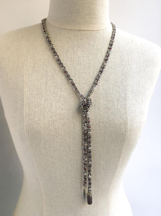 Garnet and Rose Quartz Lariat Necklace