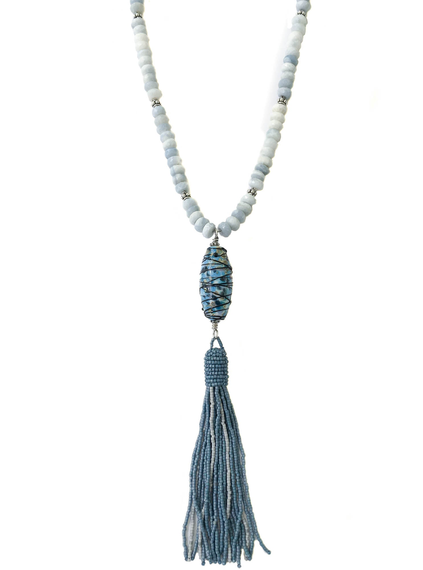 us tassel faux necklace icing white leather