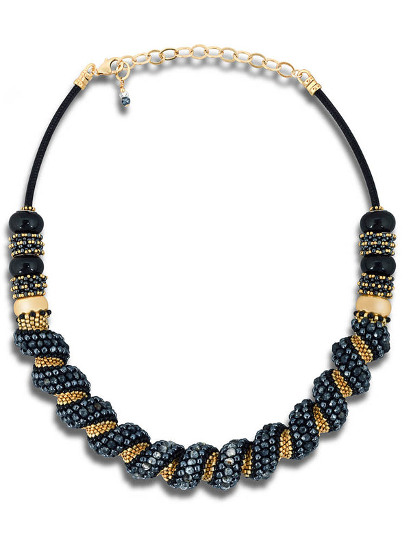Black and Gold Torque Necklace