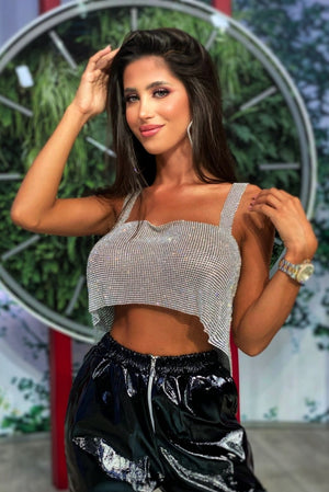 'Flirty' Shiny Rhinestone Top