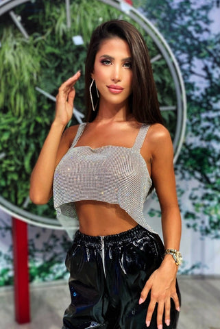 Image of 'Flirty' Shiny Rhinestone Top
