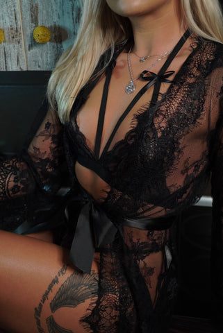 Image of Black Mesh 'WIFEY' Robe