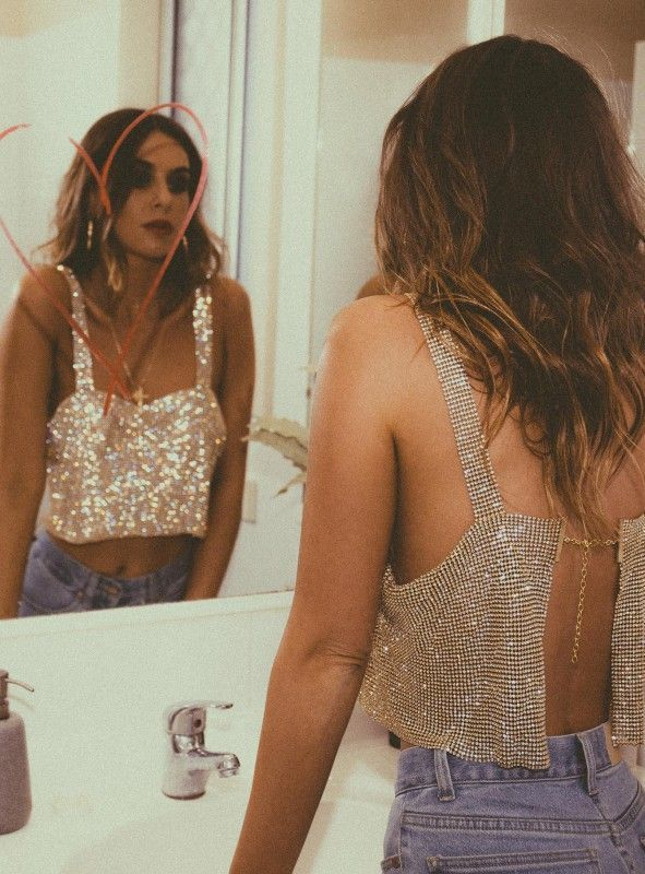 'Flirty Shiny' Crop Top Gold