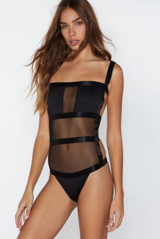 Image of Black Backless Bodysuit