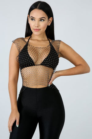 Diamond Fishnet Top