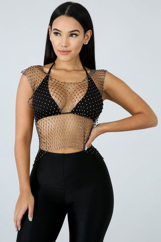 Image of Diamond Fishnet Top