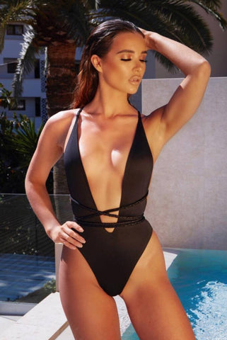 Image of Black Adjustable String Swimsuit