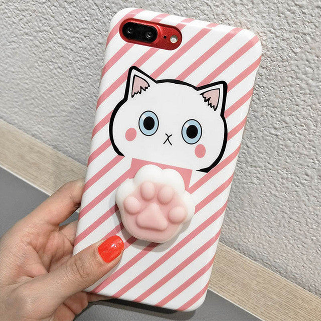Pink Stripes Cat Paw - Squishy Phone Case