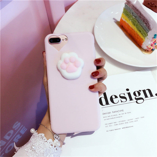 Pink Cat Paw - Squishy Phone Case