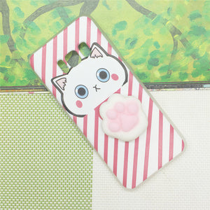 Cat Paw Pink Stripes - Squishy Phone Case