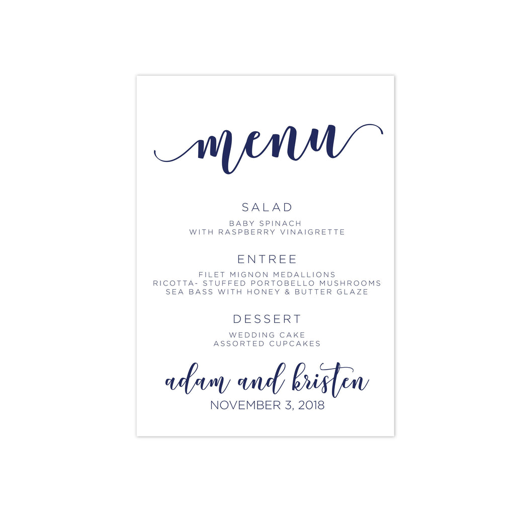 Menu Card - Family Style Menu Card | The Katie Wedding Collection