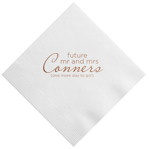 One Day to Go! Rehearsal Dinner Napkins