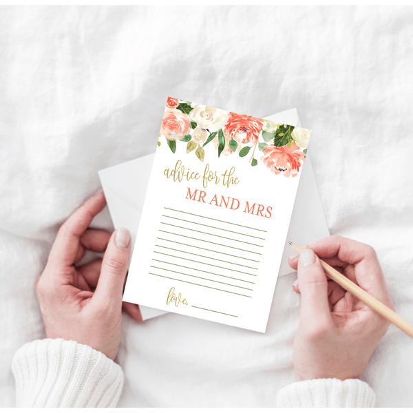 Peaches and Cream Floral Advice for the Mr and Mrs Cards