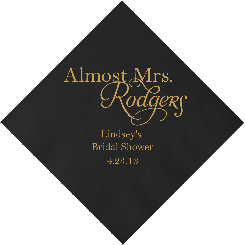 Personalized Bridal Shower Napkin - Almost Mrs. Personalized Bridal Shower Napkins
