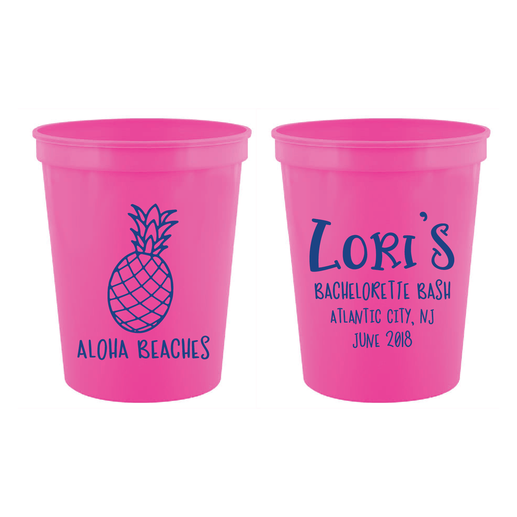 Aloha Beaches Bachelorette Weekend Stadium Cups