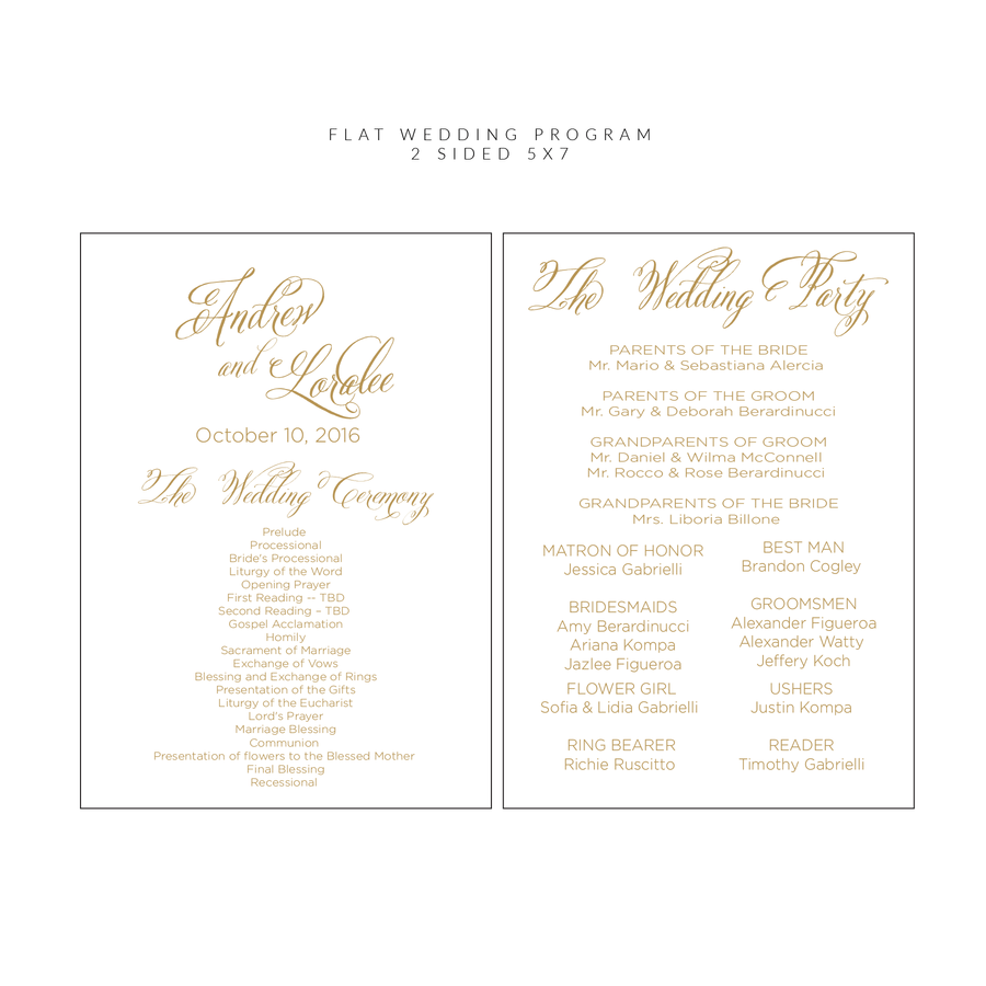 Ceremony Program - Ceremony Programs (Flat) | The Ella Wedding Collection
