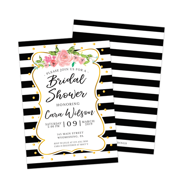 Bridal Shower Invitation | Black and White