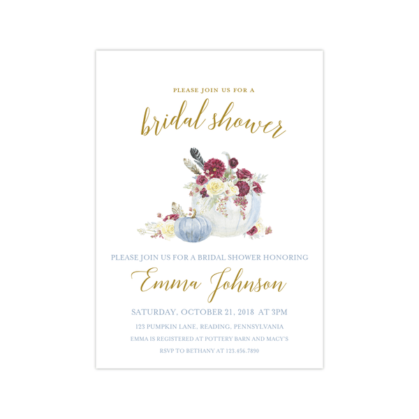 Bridal Shower Invitation | Fall Pumpkins