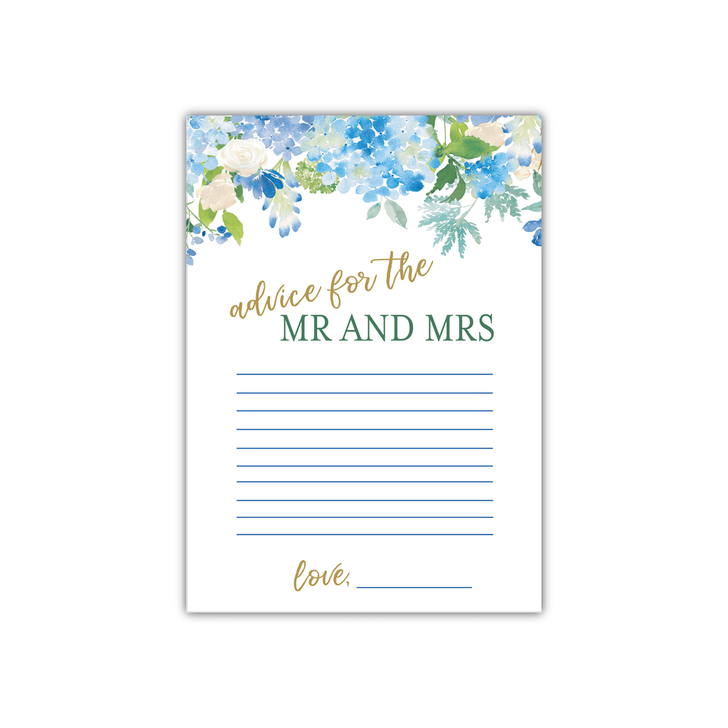Blue Floral Advice for the Mr and Mrs Cards
