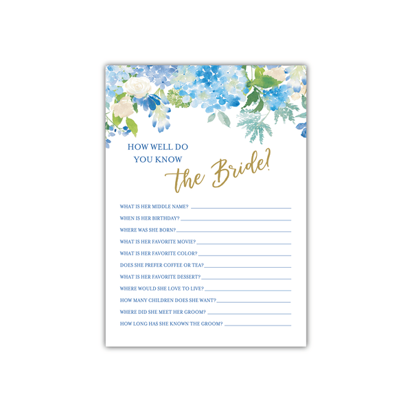 bridal shower game blue floral bride quiz