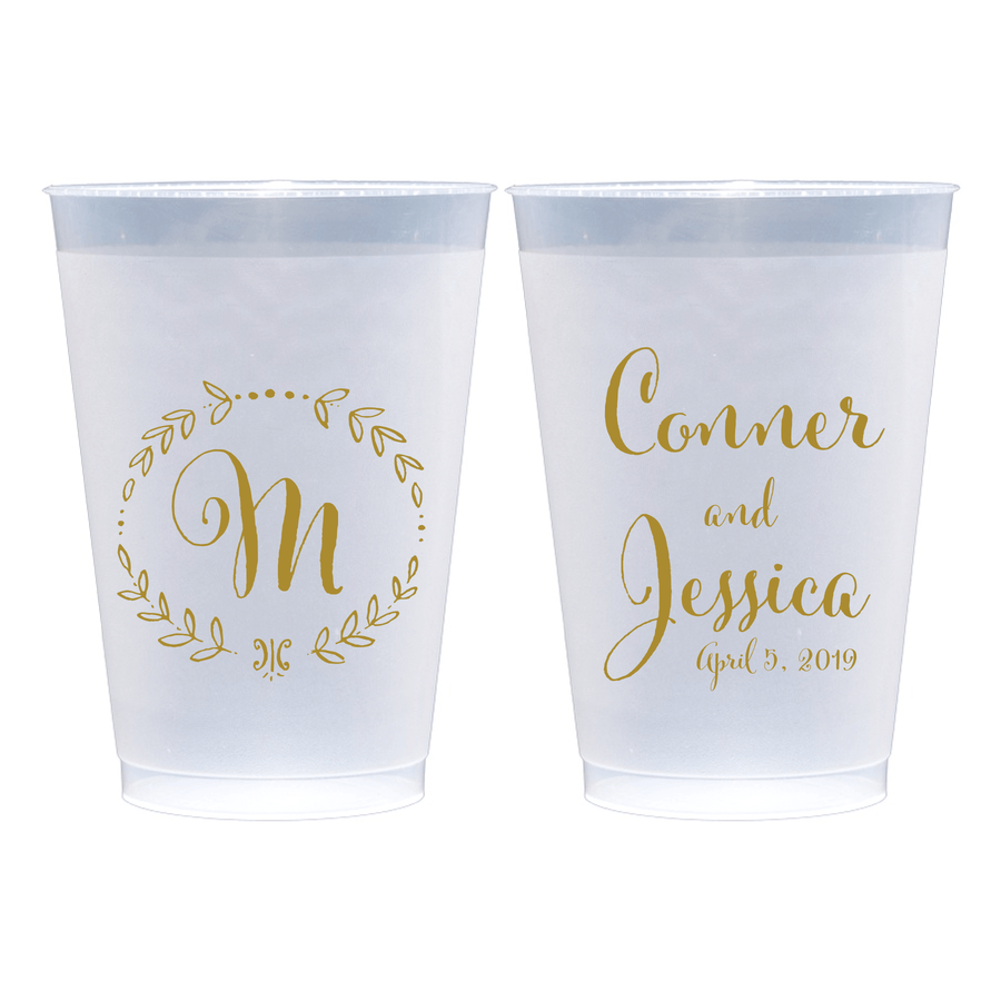 Personalized Wedding Cup - Monogram Wreath Wedding Frosted Plastic Cups
