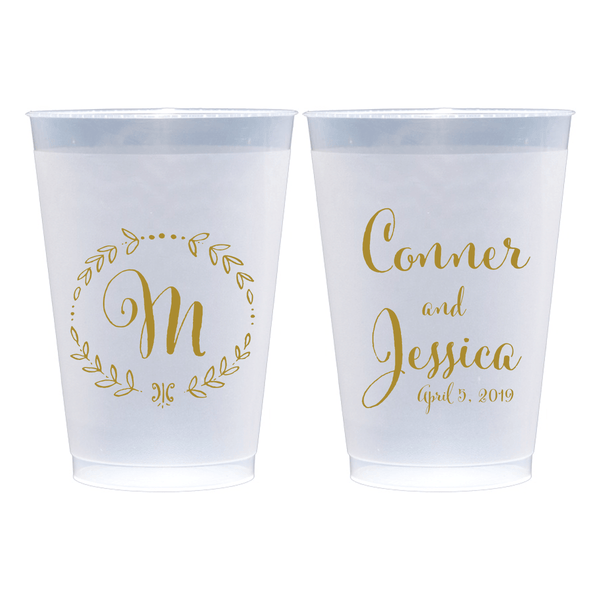 Monogram Wreath Wedding Frosted Plastic Cups