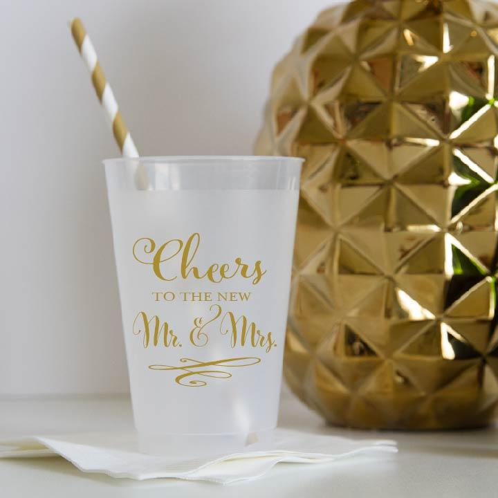 Cheers to the New Mr & Mrs Wedding Frosted Plastic Cups