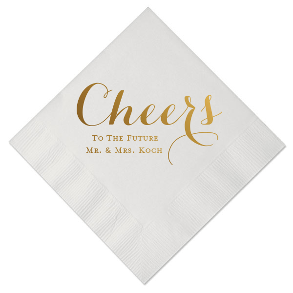 Cheers to the Future Mr and Mrs Personalized Bridal Shower Napkins