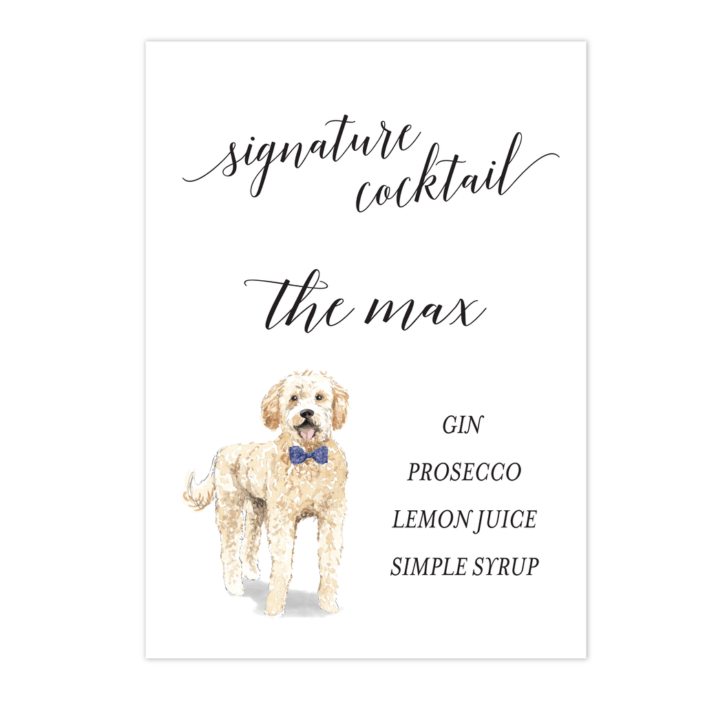 Dog Wedding Bar Menu Print