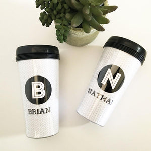 Wedding Proposal Gifts & Favors - Black & White Travel Mugs