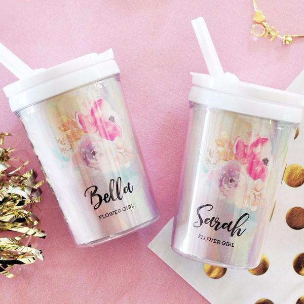 Bridal Party Gifts - Flower Girl Sippy Cups