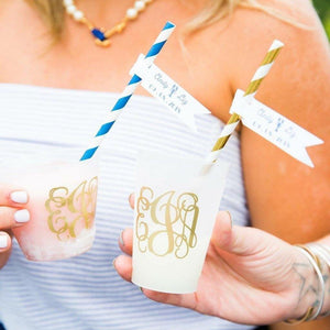 Personalized Wedding Cup - Elegant Monogram Wedding Frosted Plastic Cups