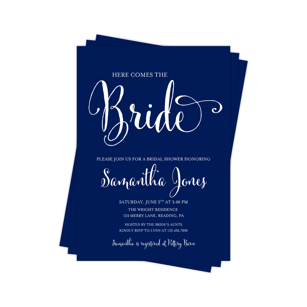 Here Comes the Bride Bridal Shower Invitation | Navy and White