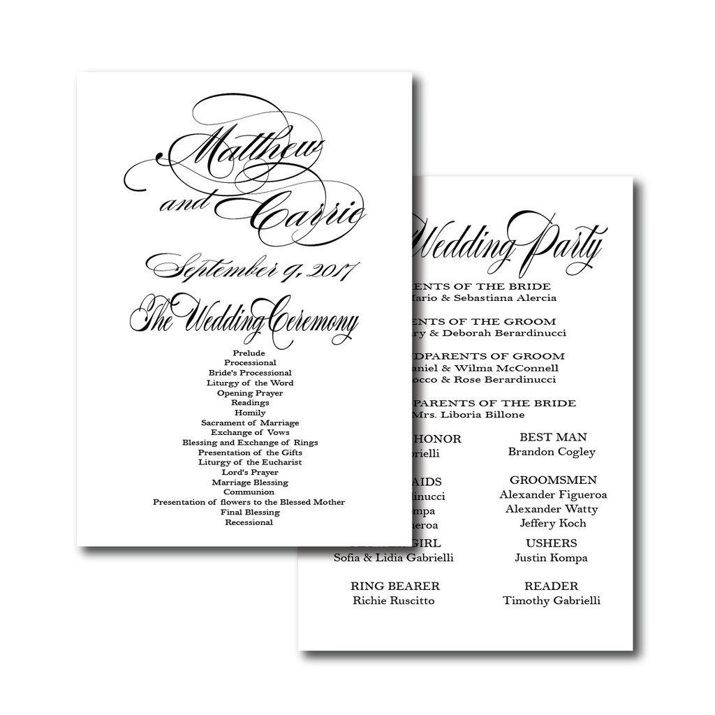 Ceremony Programs (Flat) | The Diana Wedding Collection
