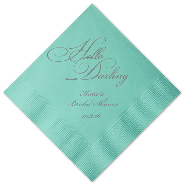 Hello Darling Personalized Bridal Shower Napkins -   - Pink Poppy Party Shoppe - 1