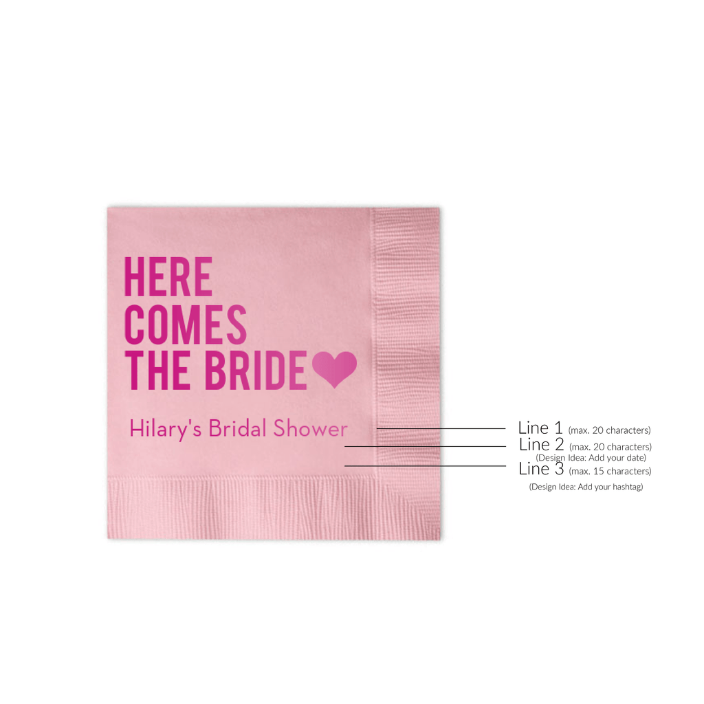 Here Comes the Bride - Bridal Shower Napkins