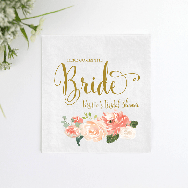 Here Comes the Bride Bridal Shower Napkins