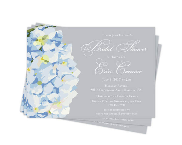 Bridal Shower Invitation | Blue Hydrangea