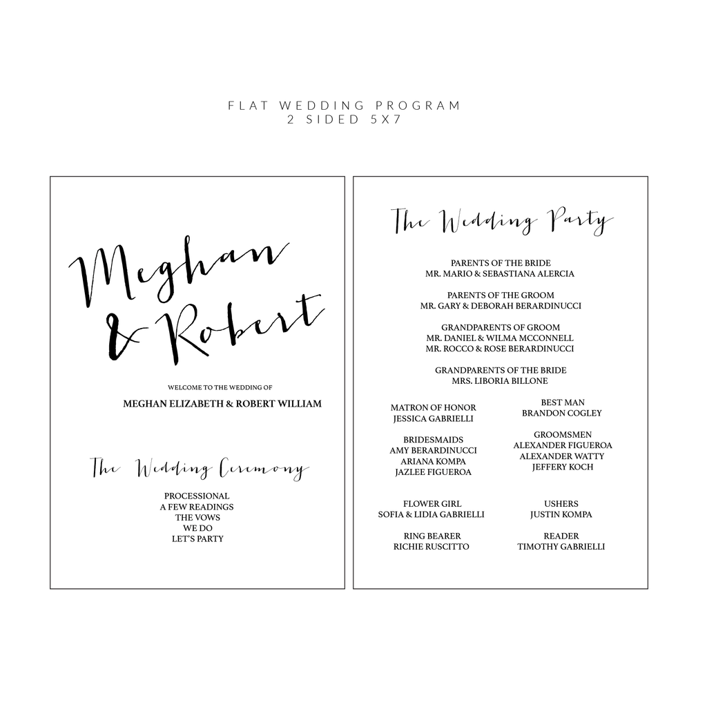 Ceremony Programs (Flat) | The Carrie Wedding Collection