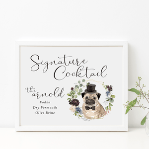 Welcome Prints - Dog Wedding Bar Menu Print