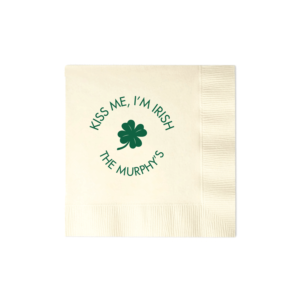 Kiss Me, I'm Irish Personalized Wedding Napkins