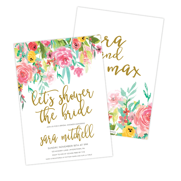 Let's Shower the Bride Bridal Shower Invitation