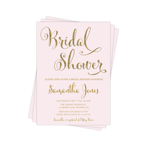 Bridal Shower Invitation | Pink and Gold
