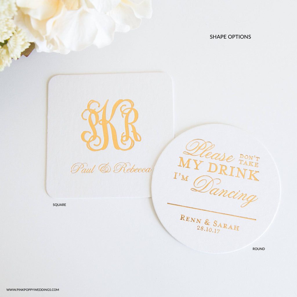 Don't Take This Drink Wedding Place Card Coaster