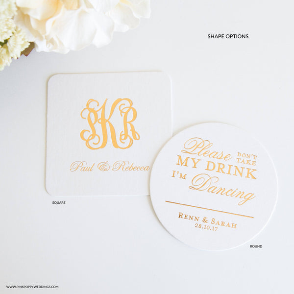 Miss No More Bridal Shower Personalized Coasters