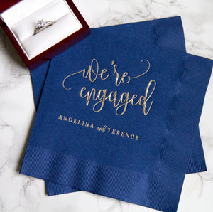 Personalized Bridal Shower Napkin - We're Engaged Personalized Napkins