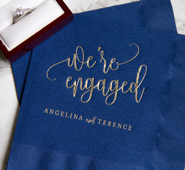 We're Engaged Personalized Napkins