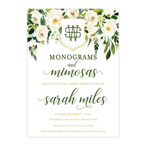 Bridal Shower Invitation - Winter White Bridal Shower Invitation | Monograms And Mimosas