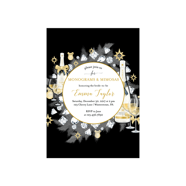 Bridal Shower Invitation | NYE Monograms and Mimosas
