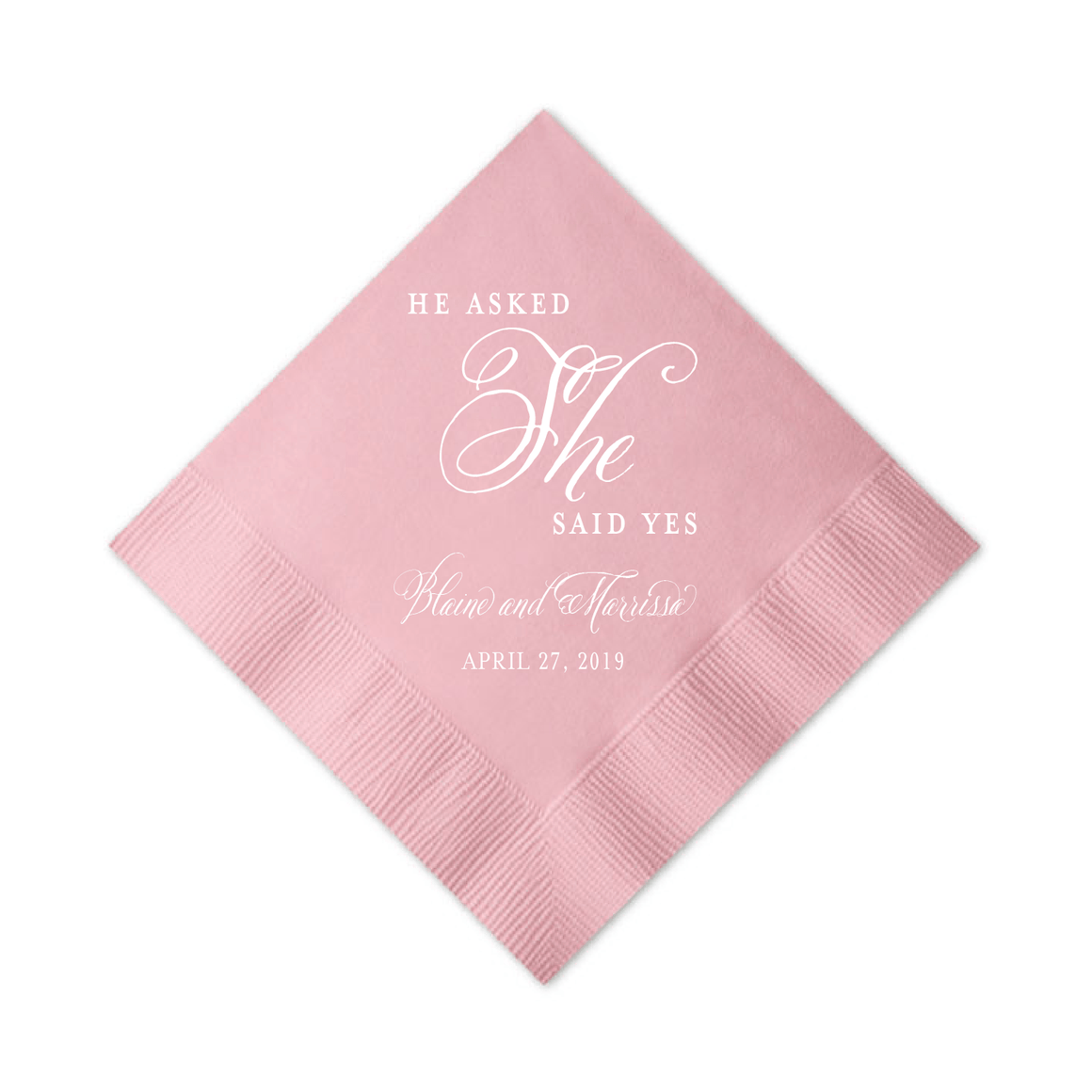 Personalized Bridal Shower Napkin - He Asked, She Said Yes Personalized Bridal Shower Napkins